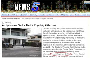 An Update on Choice Bank's Crippling Afflictions