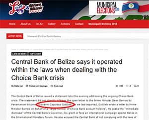 Central Bank of Belize says it operated within the laws when dealing with the Choice Bank crisis