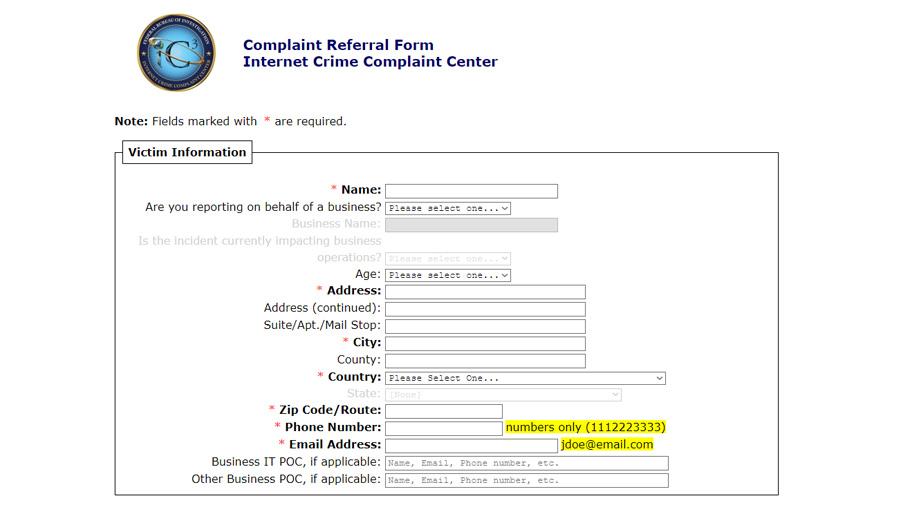 Internet Crime Complaint Center Form